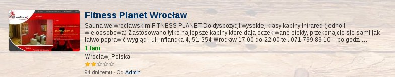 Oceń saunę w Fitness Planet Wroclaw Wrocław