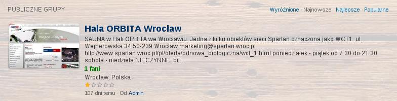 Oceń saunę w Hala Orbita Wrocław