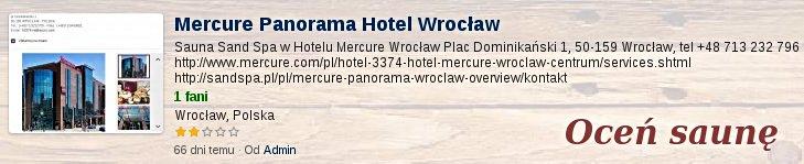 Oceń saunę w Mercure Panorama Hotel Wrocław