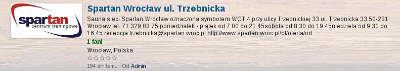 Oceń saunę w Spartan Wrocław ul. Trzebnicka