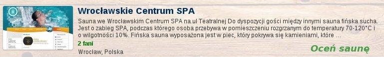 Oceń saunę we Wrocławskim Centrum SPA