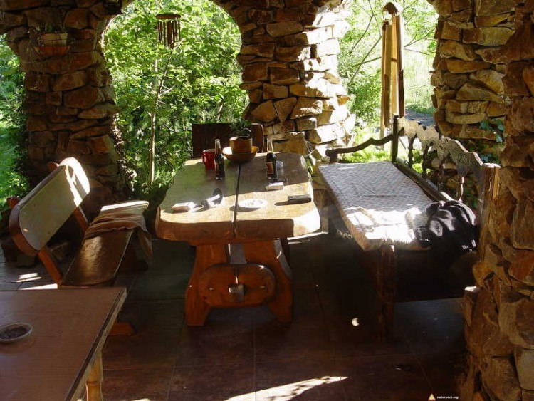 Chata dla naturystów w Osada Bieszczady - taras