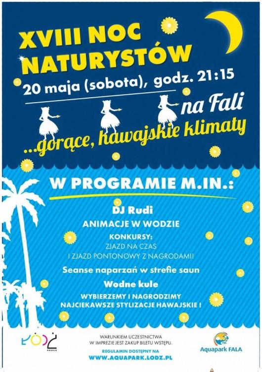 Plakat promujący XVIII Noc Naturystów w Łodzi 20 V 2017 r