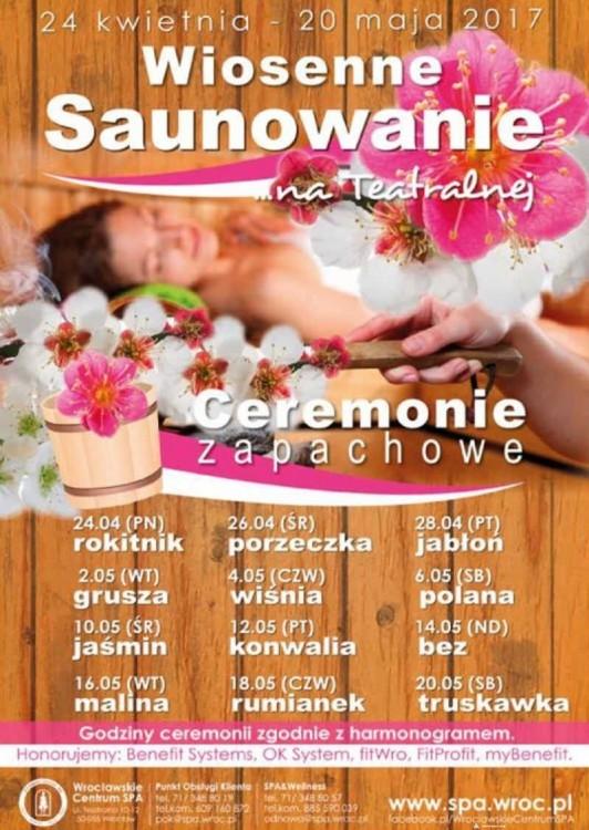 Plakat promujący Wiosenne saunowanie we Wrocławiu